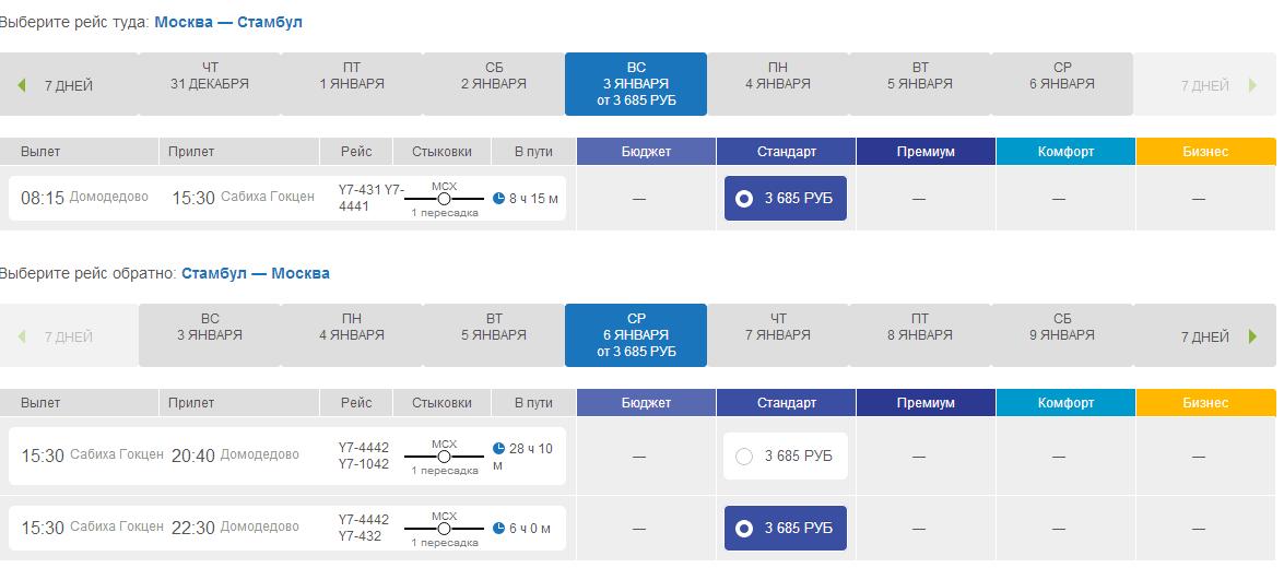 Динамика цен билетов стамбул - денизли