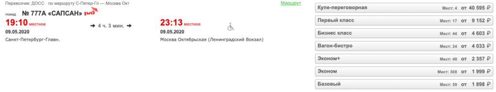 9 мая! Билеты на Сапсаны от 1050 рублей!